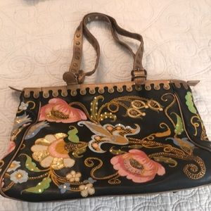 Embroidered and beaded tote